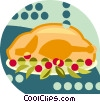 Vector Clipart image  of a turkey dinner