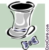 Vector Clip Art image  of a top hat and bow tie