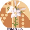 Vector Clip Art image  of a Cross with flowers