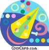 Vector Clipart graphic  of a party hat and streamers