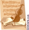 Violin with sheet music Vector Clipart illustration