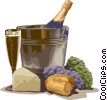 Vector Clip Art graphic  of a Wine/cheese and ice bucket