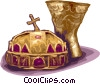 Vector Clip Art picture  of a crown and chalice