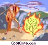 Vector Clipart image  of a Moses and the Burning Bush