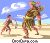 Vector Clipart illustration  of a David and Goliath