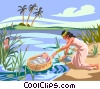 Moses found in the reeds by Pharaoh's daughter Vector Clip Art graphic