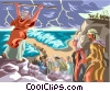 Vector Clipart image  of a Moses parts the Red Sea