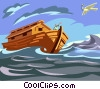 Noah's Ark after forty days dove brings olive bow Vector Clipart picture