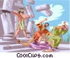 Vector Clipart picture  of a Samson topples Temple