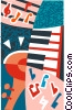 Vector Clipart image  of a trumpet and piano motif