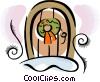 wreath on a door Vector Clipart picture