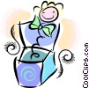 Vector Clip Art image  of a jack-in-the-box