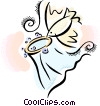 Vector Clip Art picture  of a bird with a wedding veil