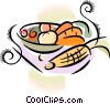 Vector Clipart picture  of a bowl of vegetables