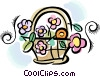 Basket of flowers Vector Clipart illustration