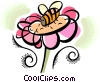 flower and bee Vector Clipart illustration