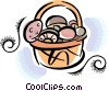 Vector Clip Art graphic  of a basket of mushrooms