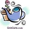 Vector Clipart graphic  of a watering can with flower