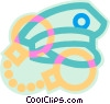 Vector Clip Art graphic  of a police cap and handcuffs