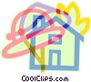 fireman's helmet and a house on fire Vector Clipart image