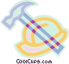 Vector Clip Art image  of a hardhat and hammer