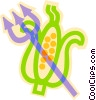 pitch fork and corn Vector Clipart picture