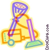 vacuum, broom and duster Vector Clip Art image