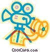 movie camera and film Vector Clipart illustration
