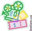 movie projector with movie tickets Vector Clip Art image