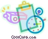 clipboard, stopwatch, and whistle Vector Clip Art picture