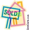 Vector Clip Art image  of a Sold sign on a house