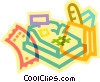 cash register and grocery bag Vector Clip Art image