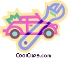 Vector Clipart picture  of a car and wrench