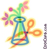 Vector Clip Art graphic  of a vase with flowers and scissors