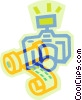 Vector Clip Art picture  of a camera and film
