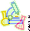 Vector Clip Art picture  of a microscope and beakers