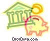 Vector Clipart illustration  of a bank symbol and piggy bank