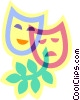 Vector Clipart graphic  of a drama masks