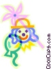 clown, pinwheel and balloons Vector Clip Art picture
