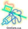 toothpaste, toothbrush and a tooth Vector Clipart picture