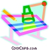 Vector Clip Art picture  of a drafting table and lamp