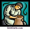 Man making a vase/pottery Vector Clip Art image