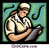 Vector Clipart graphic  of a Nurse writing on patient's