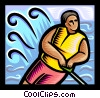 Vector Clipart graphic  of a boy water skiing