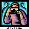 Vector Clip Art graphic  of a person taking a picture