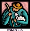 farmer with lamb Vector Clipart illustration