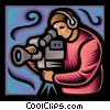 television camera man Vector Clipart illustration
