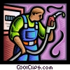 Gas attendant Vector Clip Art picture