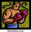 Vector Clipart illustration  of a Boxer ready to fight