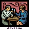 couple having wine Vector Clipart illustration